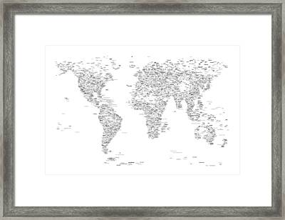 World Map Of Cities Typography Map Framed Print by Michael Tompsett