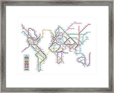 World Metro Map Framed Print by Michael Tompsett