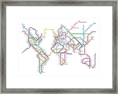World Metro Tube Map Framed Print by Michael Tompsett