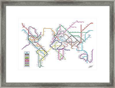 World Metro Tube Subway Map Framed Print by Michael Tompsett