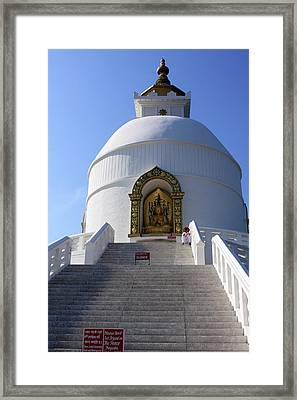 World Peace Pagoda, Nepal Framed Print by Aidan Moran