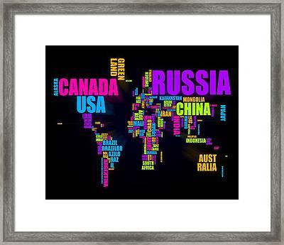 World Text Map 16x20 Framed Print by Michael Tompsett