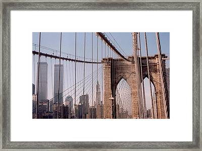 World Trade Center And Brooklyn Bridge Framed Print by Christopher Kirby