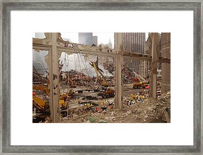 World Trade Center Recovery Operations Framed Print by Everett