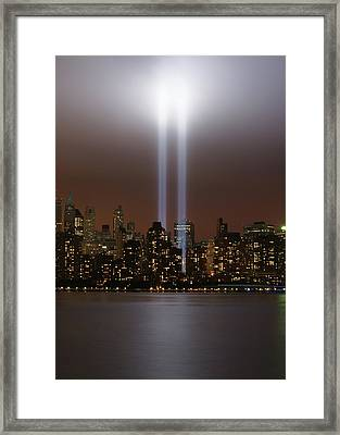 World Trade Center Tribute In Light Framed Print by Greg Adams Photography