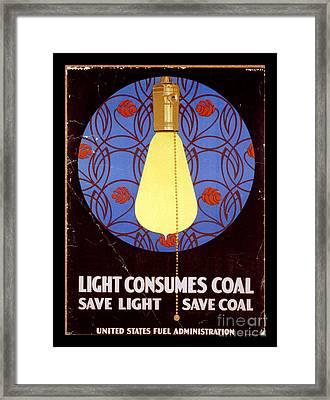 World War I Light Consumes Coal Poster 1917 Framed Print by John Stephens