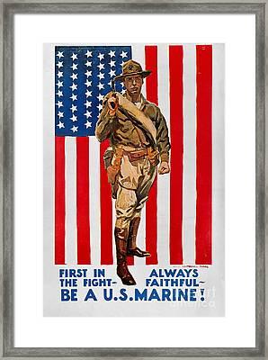World War I: U.s. Marines Framed Print by Granger