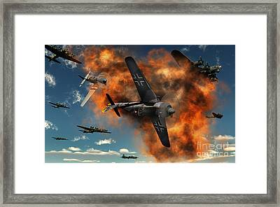 World War II Aerial Combat Framed Print by Mark Stevenson