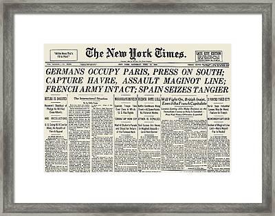 World War II: Headline, 1940 Framed Print by Granger