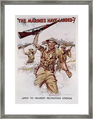 World War II, Marines Recruiting Poster Framed Print by Everett