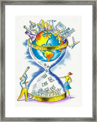 Worldwide Investing And Profit Framed Print by Leon Zernitsky