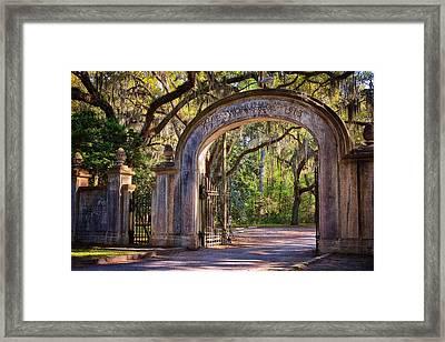 Wormsloe Plantation Gate Framed Print by Joan Carroll