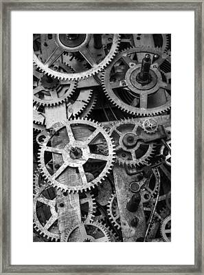 Worn Gears Black And White Framed Print by Garry Gay