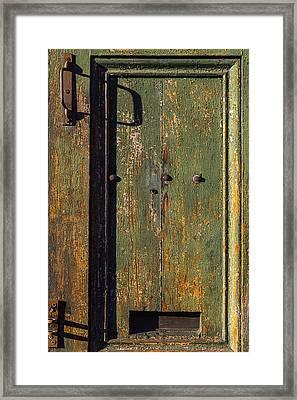 Worn Green Door Framed Print by Garry Gay