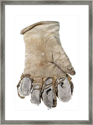 Worn Out Leather Work Glove Isolated On White Framed Print by Donald  Erickson