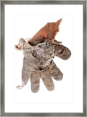 Worn Out Work Glove Isolated On White Framed Print by Donald  Erickson
