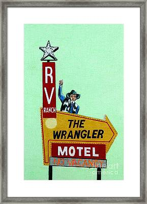 Cowboy Pencil Drawings Framed Print featuring the drawing Wrangler Motel by Glenda Zuckerman