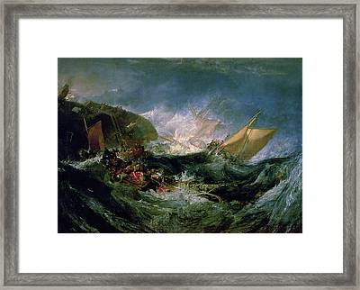 Wreck Of A Transport Ship Framed Print by Joseph Mallord William Turner