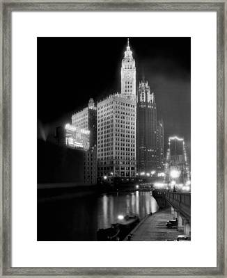 Wrigley And Tribune Buildings Framed Print by Underwood Archives