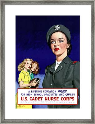 Ww2 Us Cadet Nurse Corps Framed Print by War Is Hell Store