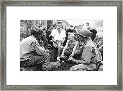 Wwii Bilibid Pow Camp Framed Print by Underwood Archives