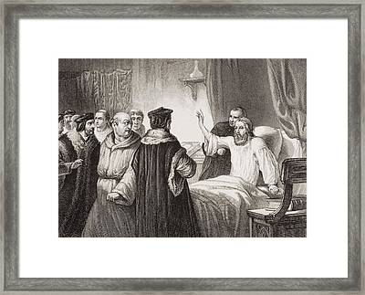Wycliffe On His Sick Bed Assailed By Framed Print by Vintage Design Pics