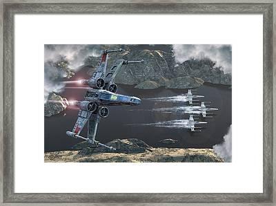 X-wing Along The River Framed Print by Kurt Miller