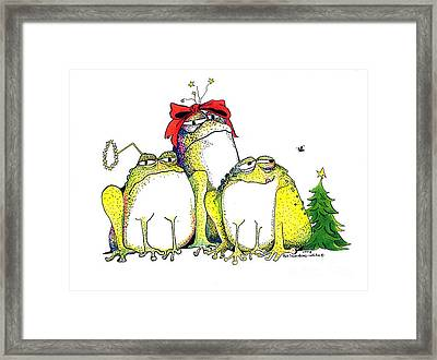 Xmas Bows Framed Print by Pat Saunders-White