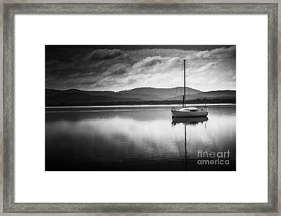 Yacht Sailing Boat With Sails Down In Port Sorell  Framed Print by Jorgo Photography - Wall Art Gallery