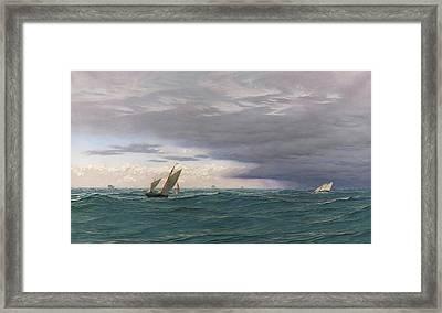 Yachts In A Seaway, Mediterranean, 1871 Framed Print by John Brett