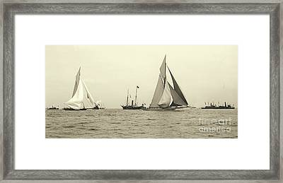 Yachts Valkyrie II And Vigilant Start Americas Cup Race 1893 Framed Print by Padre Art