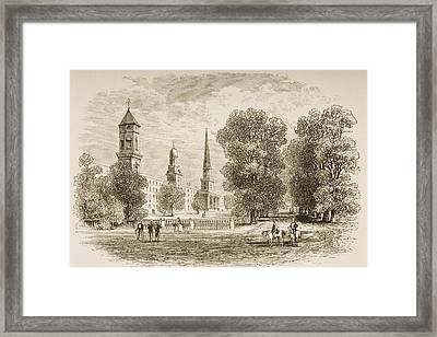 Yale College, New Haven Connecticut In Framed Print by Vintage Design Pics