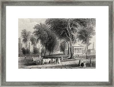 Yale College Newhaven Connecticut Usa Framed Print by Vintage Design Pics