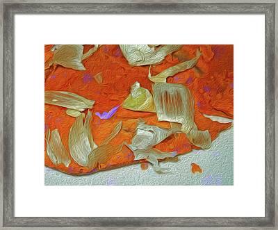 Yam And Garlic Abstract With Purple Framed Print by Lynda Lehmann