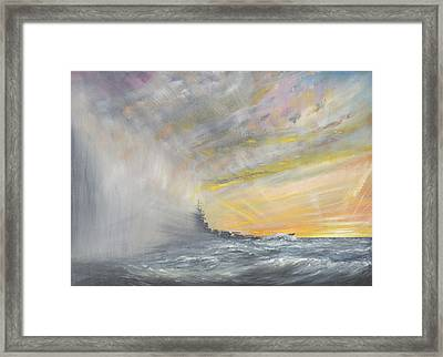 Yamato Emerges From Pacific Typhoon Framed Print by Vincent Alexander Booth