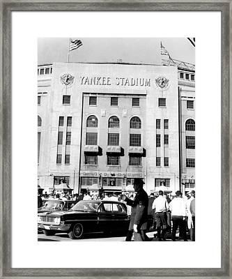 Yankee Stadium, Fans Arrive To Watch Framed Print by Everett