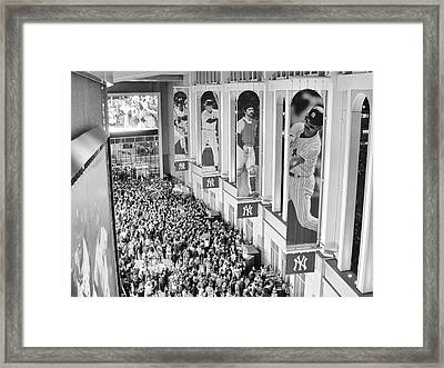 Yankee Stadium Great Hall 2009 World Series Black And White Framed Print by Terry DeLuco