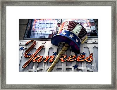 Yankees In Times Square Framed Print by John Rizzuto