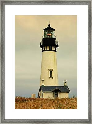 Yaquina Head Lighthouse - Newport Or Framed Print by Christine Till