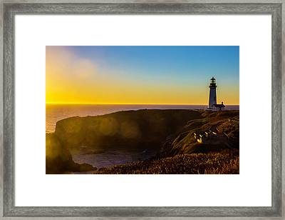 Yaquina Head Lighthouse Landscape Framed Print by Garry Gay