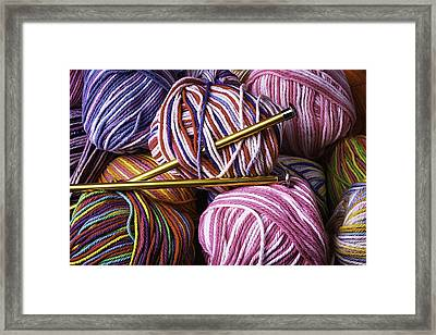 Yarn And Knitting Needles Framed Print by Garry Gay