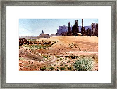 Yei Bi Chei And Totem Poles Framed Print by Donald Maier