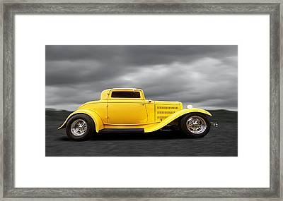 Yellow 32 Ford Deuce Coupe Framed Print by Gill Billington