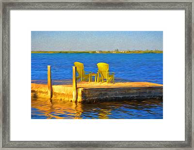 Yellow Adirondack Chairs On Dock In Florida Keys Framed Print by Ginger Wakem