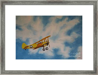 Yellow Airplane Framed Print by Jindra Noewi