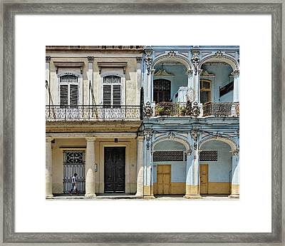 Yellow And Blue Framed Print by Dawn Currie
