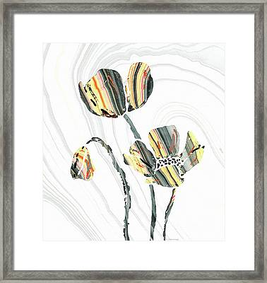 Yellow And Gray Flowers - Sharon Cummings Framed Print by Sharon Cummings