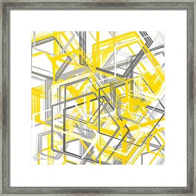 Yellow And Gray Geometric Shapes Art Framed Print by Lourry Legarde