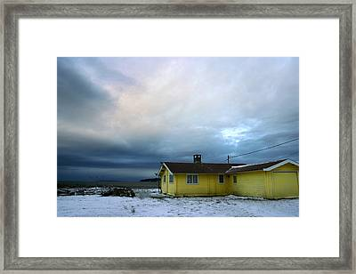 Yellow And Snow And Blue Framed Print by Julius Reque