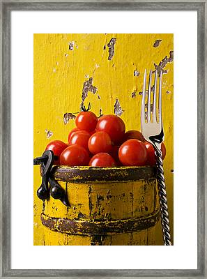 Yellow Bucket With Tomatoes Framed Print by Garry Gay